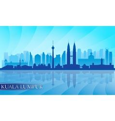 Kuala Lumpur city skyline detailed silhouette vector image vector image