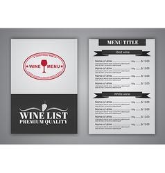 Menu Design for wine cafes restaurants vector image vector image