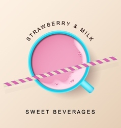 Mint cup with raspberry smoothie and cocktail vector image vector image