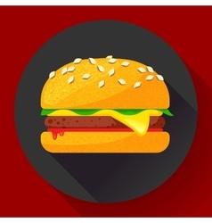 Hot burger hamburger or cheeseburger Fast vector image