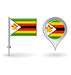 Zimbabwean pin icon and map pointer flag vector image vector image