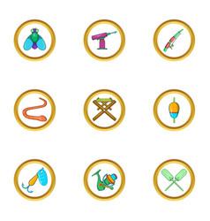 Fishing hobby icon set cartoon style vector