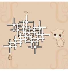 labyrinth mouse cheese and cat vector image vector image