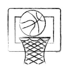 basketball balloon and basket vector image
