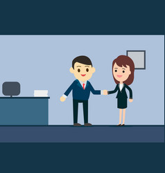 business man and business woman shaking hands in vector image vector image