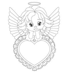 little angel Coloring page vector image vector image