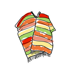 poncho clothing hand drawn icon vector image vector image