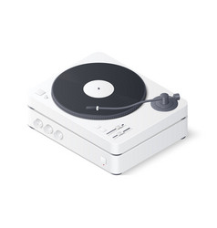 3d realistic turntable and amplifier isolated vector