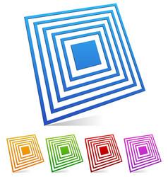 3d square emblem vector