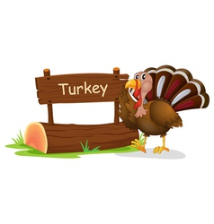 A wooden signage with a turkey vector image