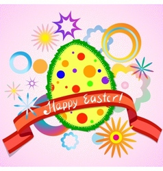 Abstract colorful easter egg and ribbon vector image
