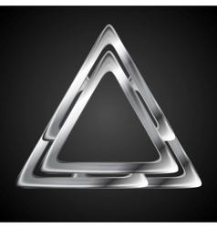Abstract metallic triangle logo design template vector image