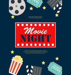 Abstract movie night cinema flat background with vector
