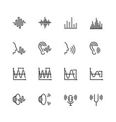 Acoustics and sound icon set in thin line style vector