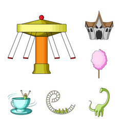 Amusement park cartoon icons in set collection for vector