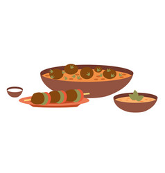 arabic cuisine dishes local vector image
