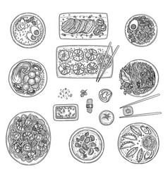 asian kitchen chinese national cusine food top vector image