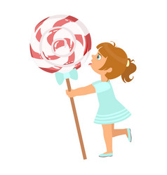 Beautiful little girl with huge lollipop a vector