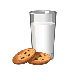 Biscuits cookie and glass of milk vector