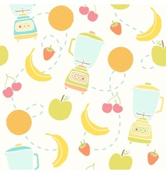Blender and fruits pattern vector