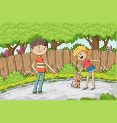 boy and girl with dog vector image