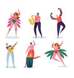 Brazilian carnival character set woman dance vector