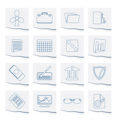 business and office icons on a piece of paper vector image