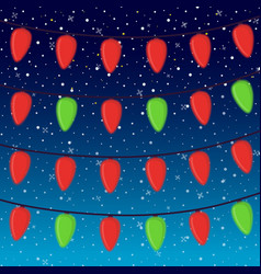 cartoon bright garland on night background vector image