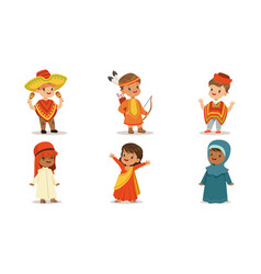 children in national costumes from different vector image