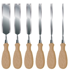 Chisel set isolated on white background Knife with vector