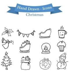 Christmas icons set of hand drawn vector