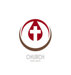 Church logo a drop jesus blood with a cross in vector