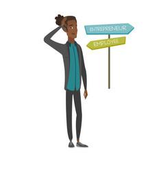 Confused african man choosing career pathway vector