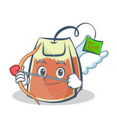 cupid tea bag character cartoon vector image
