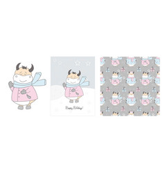 cute ox in a scarf winter hand drawn cards vector image