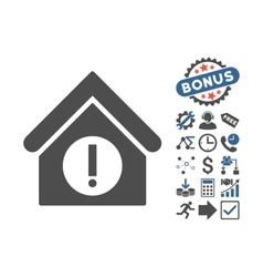 Danger Building Flat Icon With Bonus vector