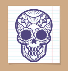 Decorative human skull with floral ornament vector