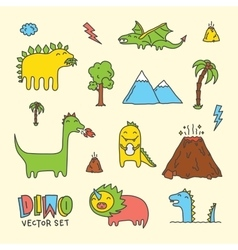 Dino cartoon set vector image