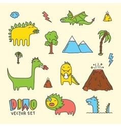 Dino cartoon set vector