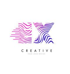Ex e x zebra lines letter logo design with vector