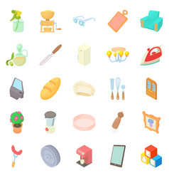 Facilities icons set cartoon style vector
