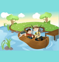 Father and son going fishing vector