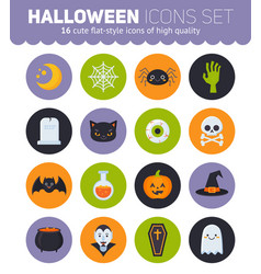 Flat halloween icons with creepy symbols for vector