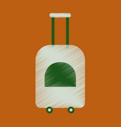 flat icon in shading style suitcase on wheels vector image