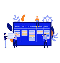 Flat man with kanban scrum agile board vector