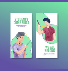Flyer template with online education design vector