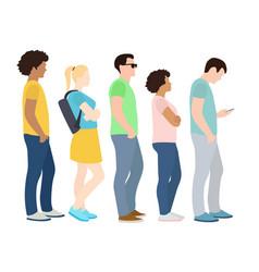 full length cartoon people standing in line vector image