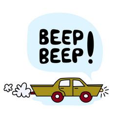 funny cartoon green car vector image
