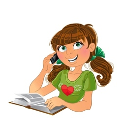 Girl and phone and book vector image