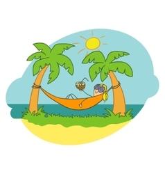 Girl in a hammock Doodle vector image vector image